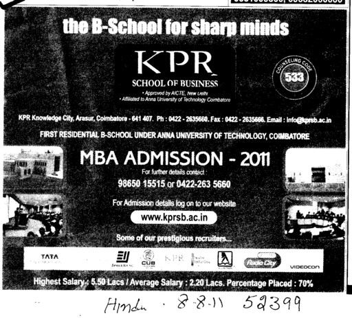 MBA Course (KPR School of Business)
