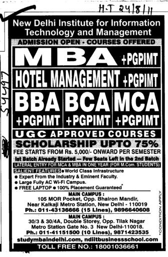 BBA BCA and MCA etc (New Delhi Institute for Information Technology)