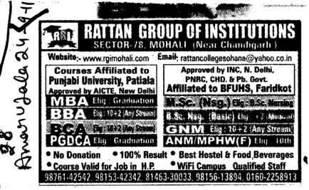 MBA BBA GNM and PGDCA etc (Rattan Professional Education Society, College of Nursing)