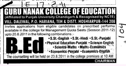 BEd Course (Guru Nanak College of Education)