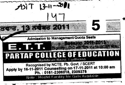 ETT Course (Partap College of Education)