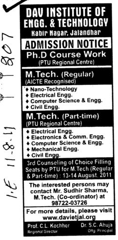 PhD and MTech Programmes (DAV Institute of Engineering and Technology DAVIET)