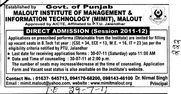 BTech Course (Malout Institute of Management and Information Technology MIMIT)