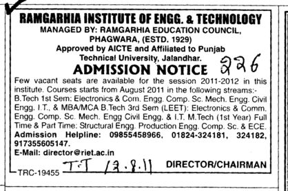 BTech MBA and MCA etc (Ramgarhia Institute of Engineering and Technology RIET)