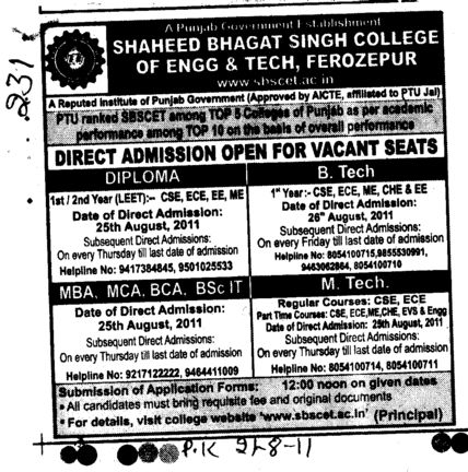 MTech BTech MBA MCA and BBA etc (Shaheed Bhagat Singh State (SBBS) Technical Campus)