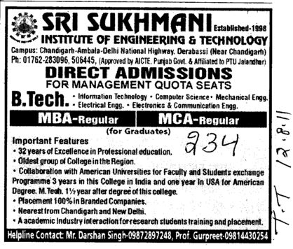 BTech MBA and MCA etc (Sri Sukhmani Institute of Engineering and Technology)