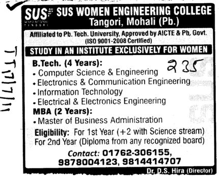 BTech and MBA Courses (SUS College of Engineering and Technology SUSCET)