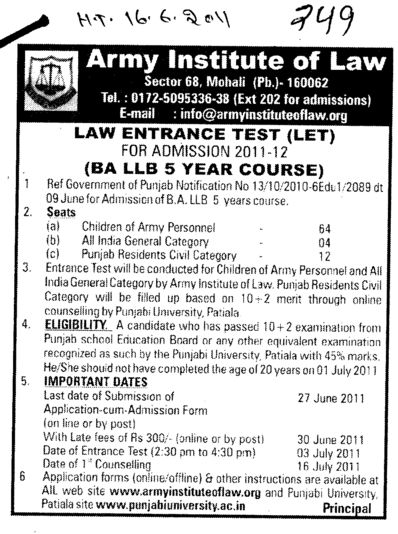 BA LLB of 5 years (Army Institute of Law)