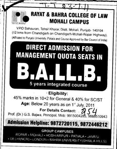 BA LLB of 5 years (Rayat and Bahra College of Law)