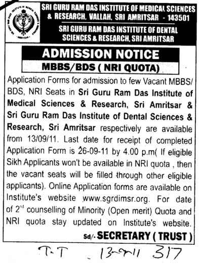 MBBS and BDS Courses (Sri Guru Ram Das Institute of Medical Sciences and Research)