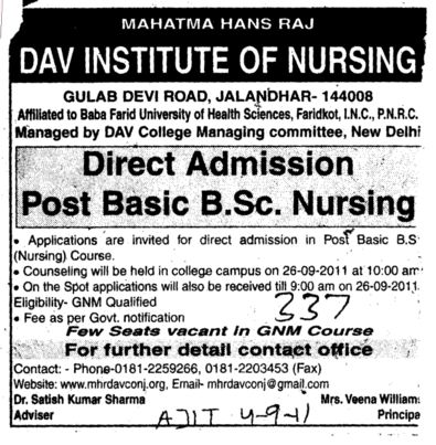 Post Basic BSc Nursing (Mahatma Hans Raj DAV Institute of Nursing)