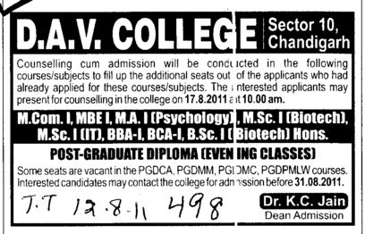 MCom MBE BBA BCA and BSc etc (DAV College Sector 10)