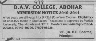 BPED Course (DAV College)