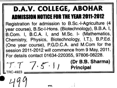 BSC BBA BCom BBA and PGDCA etc (DAV College)