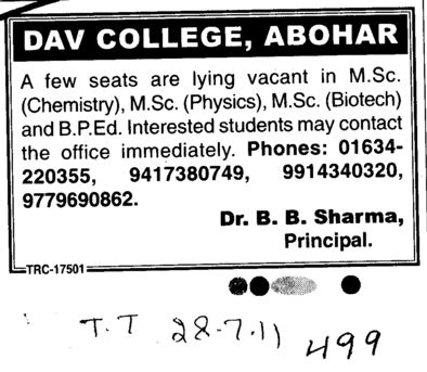 MSc in Physics Chemistry and Biotech etc (DAV College)