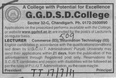 Lecturer for Commerce and Information Technology etc (GGDSD College)