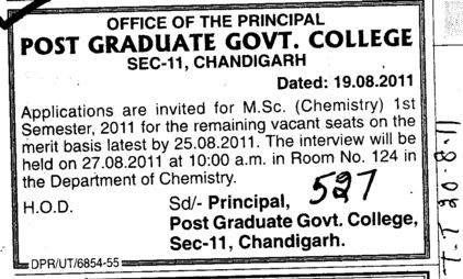 MSc in Chemistry (Post Graduate Government College (Sector 11))