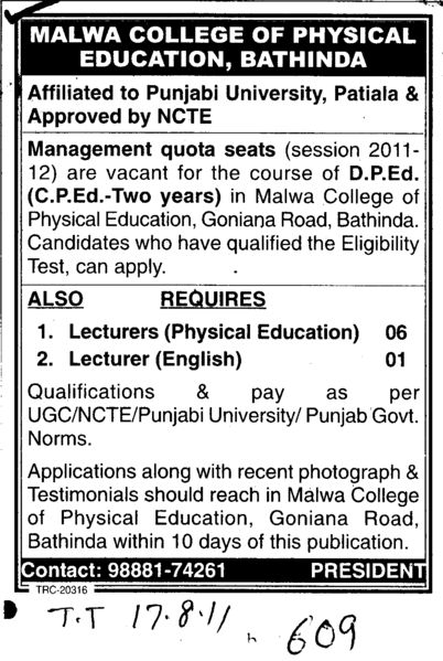 Lecturers of Physical Education and English (Malwa College of Physical Education)
