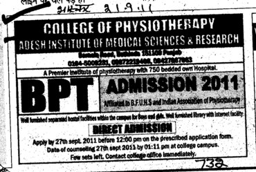 BPT Course (Adesh Institute of Medical Sciences and Research)