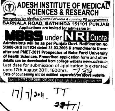 MBBS Course under NRI Quota (Adesh Institute of Medical Sciences and Research)
