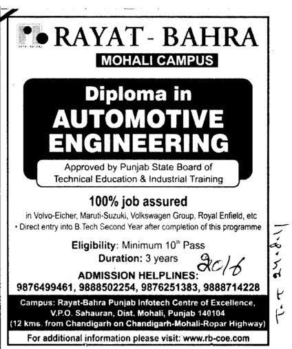 Diploma in Automotive Engineering (Rayat and Bahra Group)