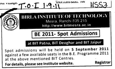BE Course (Birla Institute of Technology (BIT Mesra))