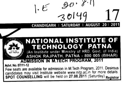 MTech Programme (National Institute of Technology NIT)