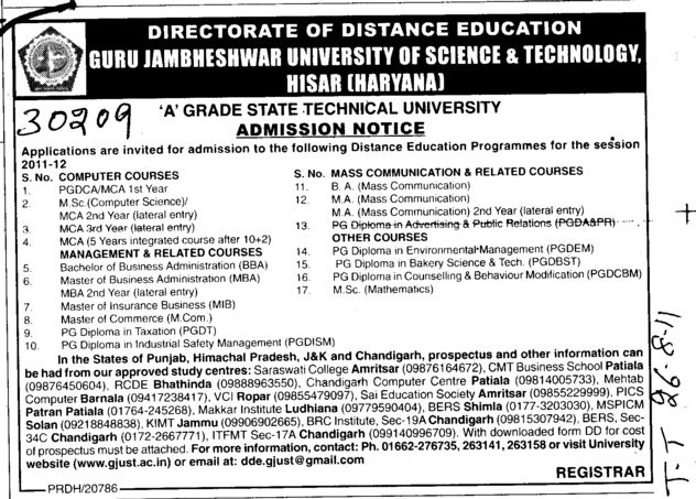 BA MA MCA and MSc in Computer Science etc (Guru Jambheshwar University of Science and Technology (GJUST))