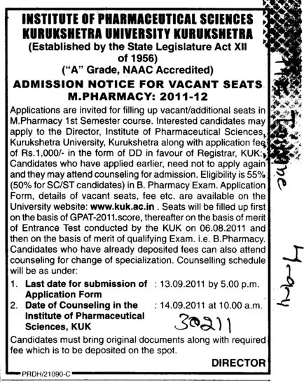 M Pharmacy Course (Kurukshetra University)
