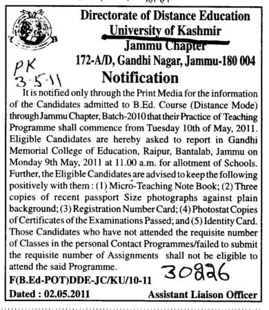 BEd Course (University of Kashmir Hazbartbal)