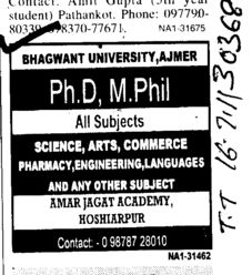 PHD and MPhill Course (Bhagwant University)