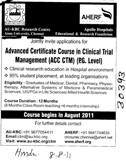 Advanced Certificate Course in Clinical Trial Management (Anna University)