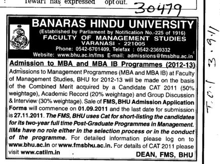 MBA and MBA IB Programmes (Banaras Hindu University)