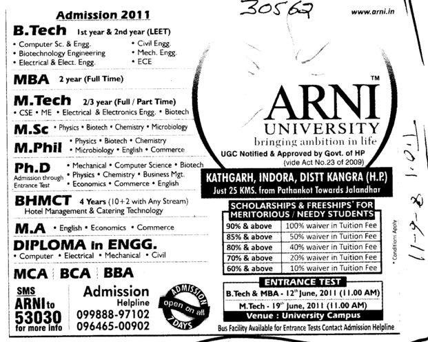 BTech MBA MPhill and PhD Courses (Arni University Kathgarh)