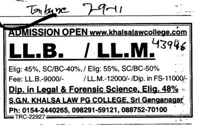 LLB and LLM Courses (SGN Khalsa Law PG College)