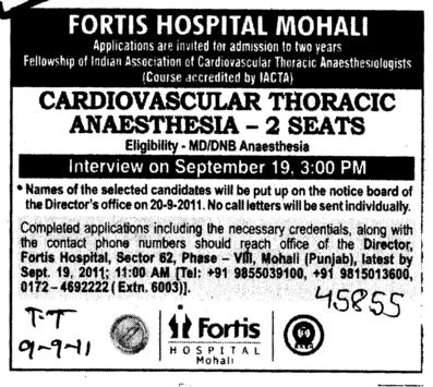 Required Cardiovascular Thoracic Anaesthesia (Fortis Hospital)