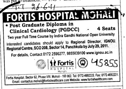 Post Graduate Diploma in Clinical Cardiology (Fortis Hospital)