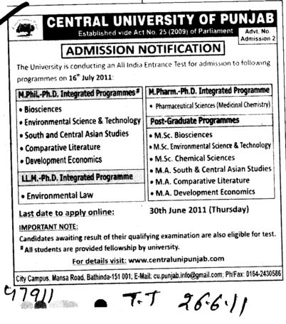 M Phill PhD LLM and Post Graduate Programmes etc (Central University of Punjab)