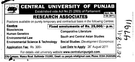 Research Associates on Contract Basis (Central University of Punjab)