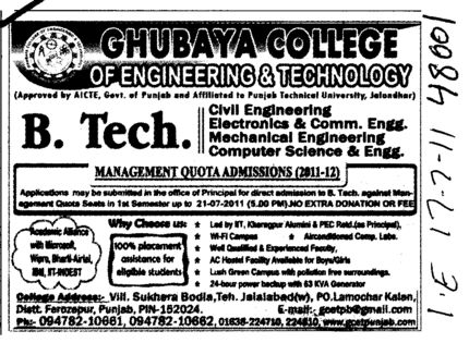 BTech Course (Ghubaya College of Engineering and Technology GCET)