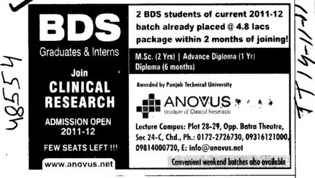 BDS Course (Anovus Institute of Clinical Research)