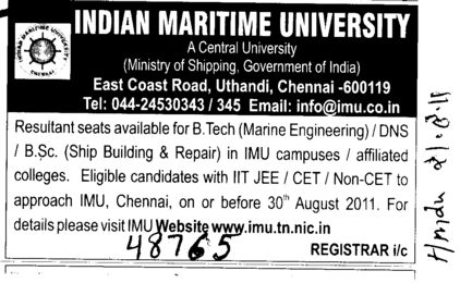 BTech and BSc on regular basis (Indian Maritime University)
