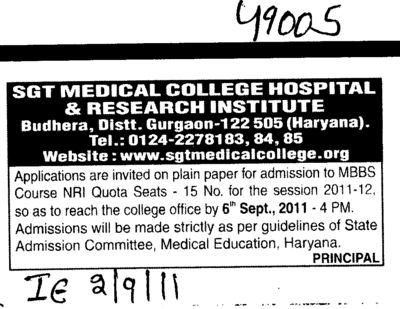 MBBS Course for NRI quota (SGT Medical College)