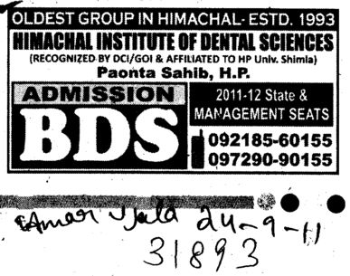 BDS Course (Himachal Institute of Dental Sciences HIDS)