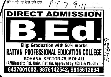 BEd Course (Rattan College of Education)