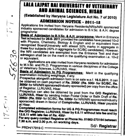 BVSc and AH Programmes (Lala Lajpat Rai University of Veterinary and Animal Sciences)