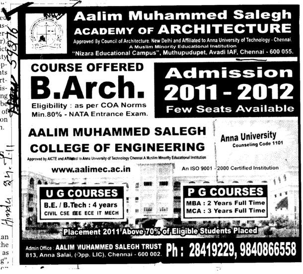 BTech MBA and MCA etc (Aalim Muhammed Salegh Academy of Architecture)