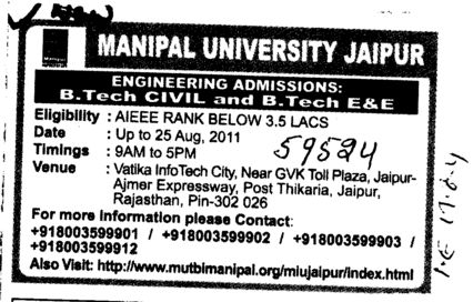 BTech in CSE ECE and Civil etc (Manipal University)