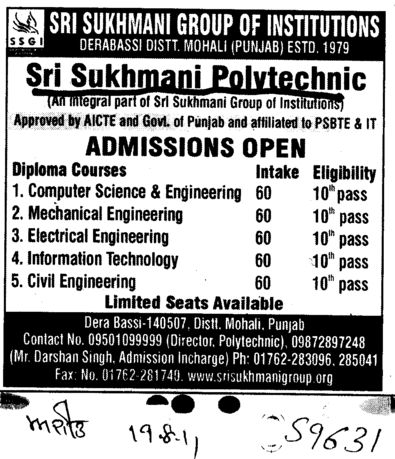 BTech in CSE ECE and ME (Sri Sukhmani Polytechnic)