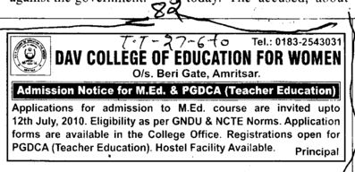 MEd and PGDCA courses (DAV College of Education for Women)
